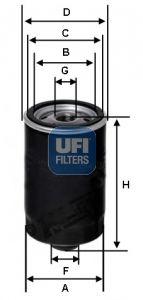 UFI  23.462.00 Ölfilter Ø: 76,0mm, Außendurchmesser 2: 72,0mm, Innendurchmesser 2: 62,0mm, Höhe: 129,5mm