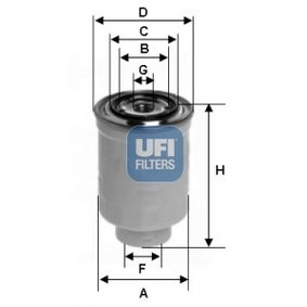 Fuel filter Height: 128mm with OEM Number 16403-4U11A