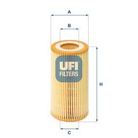 UFI  25.001.00 Ölfilter Ø: 63,5mm, Innendurchmesser 2: 29,0mm, Höhe: 116,0mm