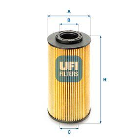 UFI  25.070.00 Ölfilter Ø: 60,5mm, Innendurchmesser 2: 25,0mm, Höhe: 120,0mm
