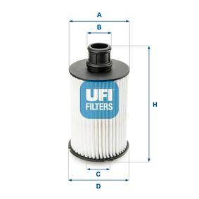 UFI  25.073.02 Ölfilter Ø: 71,0mm, Innendurchmesser 2: 28,0mm, Innendurchmesser 2: 25,0mm, Höhe: 143,5mm