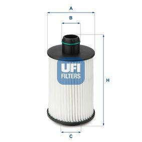 UFI  25.088.00 Ölfilter Ø: 66,0mm, Innendurchmesser 2: 26,0mm, Höhe: 126mm