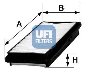 UFI  30.243.00 Въздушен филтър дължина: 247,0мм, ширина: 153,0мм, височина: 40,0мм, дължина: 247,0мм