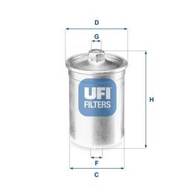UFI Kraftstofffilter 31.506.00 für AUDI 80 Avant (8C, B4) 2.0 E 16V ab Baujahr 02.1993, 140 PS