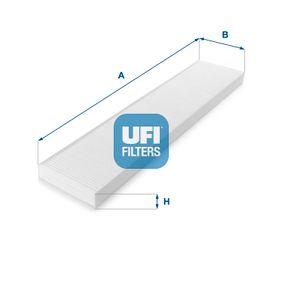 Filter, Innenraumluft Länge: 535,8mm, Breite: 109,5mm, Höhe: 25,5mm mit OEM-Nummer 95V W19 N55 1AA