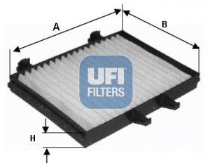 UFI  53.128.00 Filter, Innenraumluft Länge: 214,0mm, Breite: 155,0mm, Höhe: 25,0mm