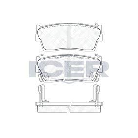 ICER  141002 Brake Pad Set, disc brake Height: 43,7mm, Thickness: 15mm
