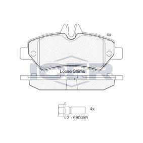 Bremsbelagsatz, Scheibenbremse Höhe: 63,15mm, Dicke/Stärke: 19mm mit OEM-Nummer 2E0.698.451