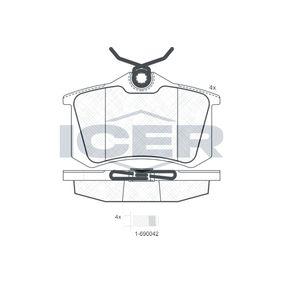 ICER Bromsbeläggssats, skivbroms 180697-700 med OEM Koder 425223