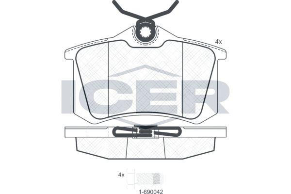 ICER  180697-700 Bremsbelagsatz, Scheibenbremse Breite: 87,0mm, Höhe: 52,8mm, Dicke/Stärke: 17,2mm