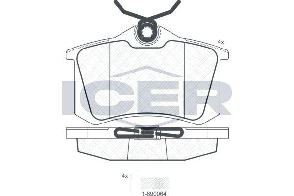 ICER  180697-703 Bremsbelagsatz, Scheibenbremse Höhe: 52,8mm, Dicke/Stärke: 17,2mm