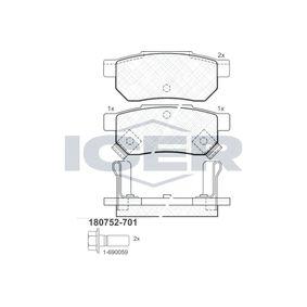 Комплект спирачно феродо, дискови спирачки 180752-701 25 Хечбек (RF) 2.0 iDT Г.П. 2002