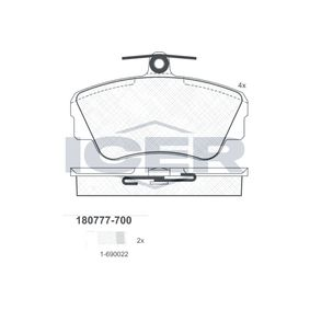 Brake Pad Set, disc brake Width: 109,9mm, Height: 67,5mm, Thickness: 17,5mm with OEM Number 3 344 787