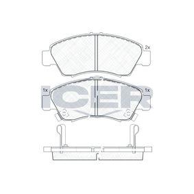 Комплект спирачно феродо, дискови спирачки 180958 Jazz 2 (GD_, GE3, GE2) 1.2 i-DSI (GD5, GE2) Г.П. 2007