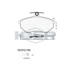 ICER  181012-700 Brake Pad Set, disc brake Height: 69,6mm, Thickness: 16,3mm