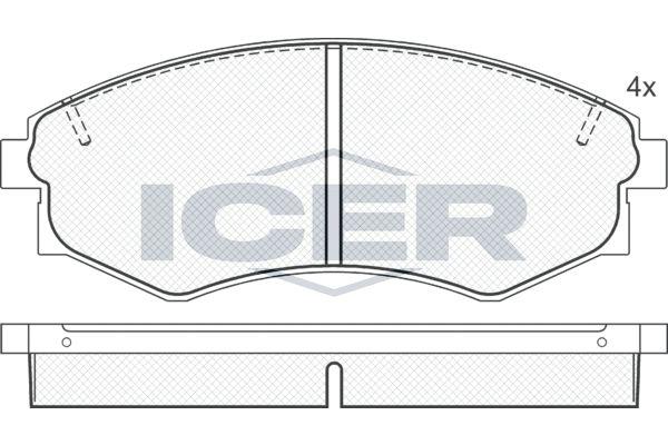 ICER  181097 Bremsbelagsatz, Scheibenbremse Breite: 137,0mm, Höhe: 53,9mm, Dicke/Stärke: 17mm