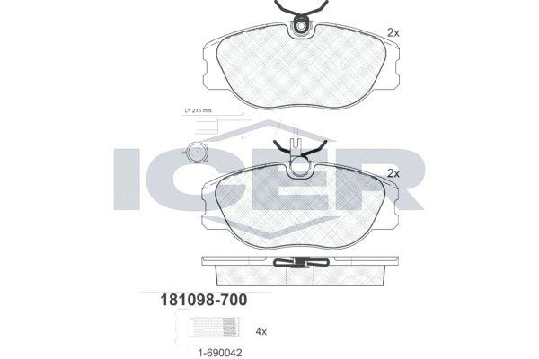 ICER  181098-700 Bremsbelagsatz, Scheibenbremse Höhe: 58,7mm, Dicke/Stärke: 19mm