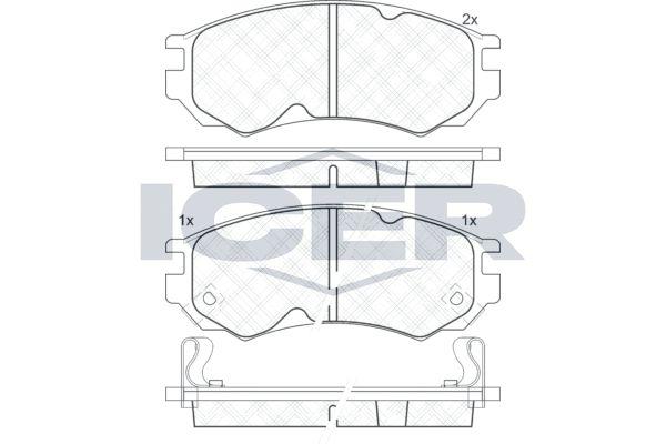 ICER  181106 Bremsbelagsatz, Scheibenbremse Höhe: 52mm, Dicke/Stärke: 15mm