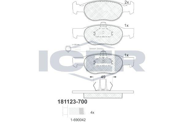 ICER  181123-700 Bremsbelagsatz, Scheibenbremse Höhe 2: 52,03mm, Höhe: 52,07mm, Dicke/Stärke: 17,9mm