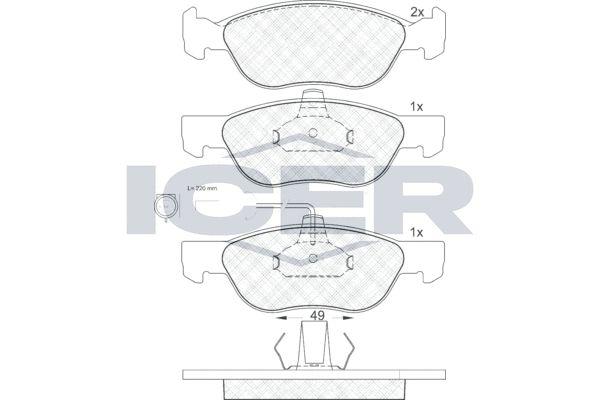 ICER  181124 Bremsbelagsatz, Scheibenbremse Höhe 2: 52,67mm, Höhe: 52,49mm, Dicke/Stärke: 17,9mm