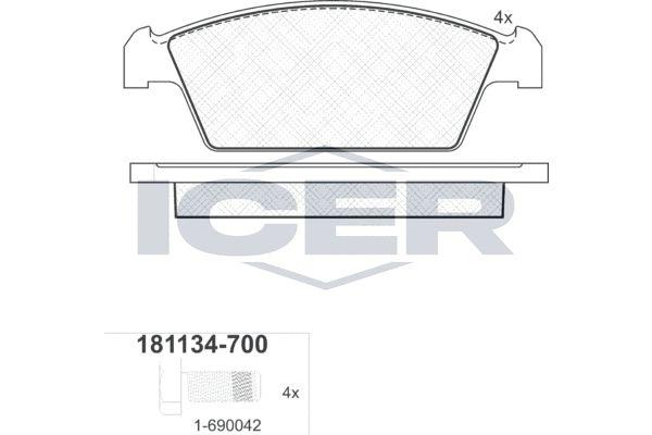 ICER  181134-700 Bremsbelagsatz, Scheibenbremse Höhe: 39mm, Dicke/Stärke: 14mm