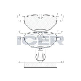 ICER  181141 Bremsbelagsatz, Scheibenbremse Höhe: 44,97mm, Dicke/Stärke: 17,3mm