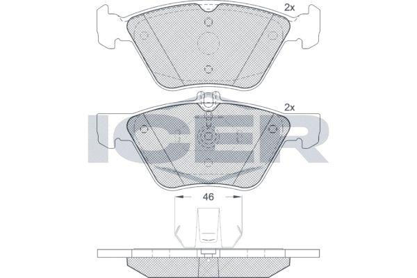 ICER  181159 Bremsbelagsatz, Scheibenbremse Höhe 2: 69,4mm, Höhe: 63,7mm, Dicke/Stärke: 20,3mm