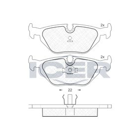 ICER  181174 Bremsbelagsatz, Scheibenbremse Höhe: 44,9mm, Dicke/Stärke: 17,3mm