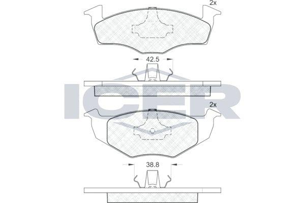 ICER  181178 Bremsbelagsatz, Scheibenbremse Höhe 2: 50,8mm, Höhe: 50,5mm, Dicke/Stärke: 15,3mm