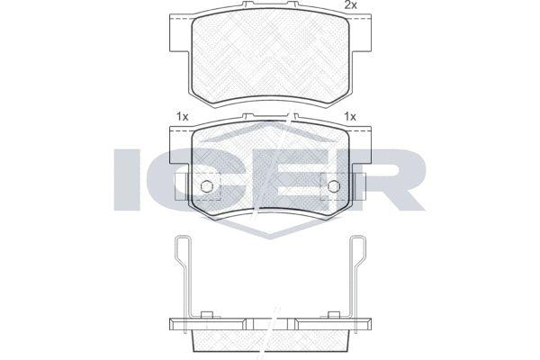 ICER  181187 Bremsbelagsatz, Scheibenbremse Höhe: 47,1mm, Dicke/Stärke: 14,6mm