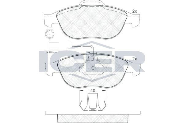 ICER  181212 Bremsbelagsatz, Scheibenbremse Höhe 2: 63,77mm, Höhe: 59,27mm, Dicke/Stärke: 19,3mm