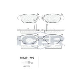 ICER  181271-702 Brake Pad Set, disc brake Height: 42,7mm, Thickness: 16,9mm