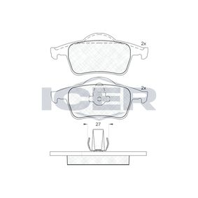 Bremsbelagsatz, Scheibenbremse Höhe 2: 53,8mm, Höhe: 53,78mm, Dicke/Stärke: 17,2mm mit OEM-Nummer 3 066 555-2