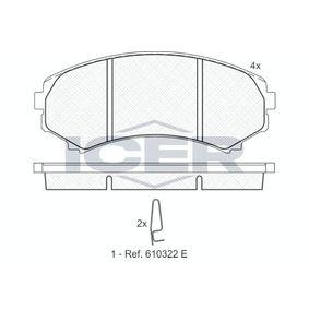 ICER  181374 Brake Pad Set, disc brake Height: 58,5mm, Thickness: 15,4mm