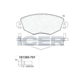 ICER  181380-701 Brake Pad Set, disc brake Height: 60,6mm, Thickness: 18,5mm