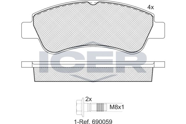 ICER  181388-701 Brake Pad Set, disc brake Height: 51,6mm, Thickness: 19mm