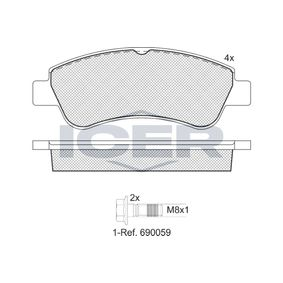 Brake Pad Set, disc brake Height: 51,6mm, Thickness: 19mm with OEM Number 1613192280