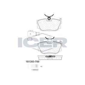 ICER  181393-700 Brake Pad Set, disc brake Height: 51,2mm, Thickness: 16,5mm
