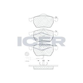 ICER  181396 Brake Pad Set, disc brake Height: 74,1mm, Thickness 2: 20,6mm, Thickness: 19,5mm