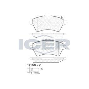 Bremsbelagsatz, Scheibenbremse Höhe: 62,3mm, Dicke/Stärke: 17,5mm mit OEM-Nummer 23615