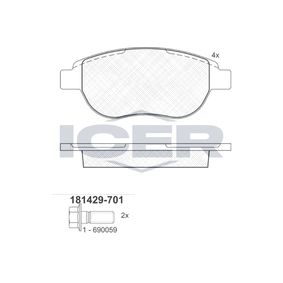 ICER  181429-701 Brake Pad Set, disc brake Height: 57,2mm, Thickness: 19mm