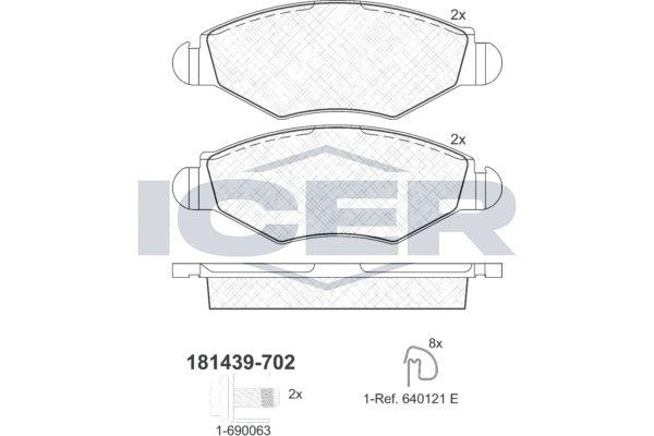 ICER  181439-702 Bremsbelagsatz, Scheibenbremse Höhe: 47,3mm, Dicke/Stärke: 18mm