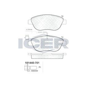 Bremsbelagsatz, Scheibenbremse Höhe: 57,34mm, Dicke/Stärke: 19mm mit OEM-Nummer 7 736 2712