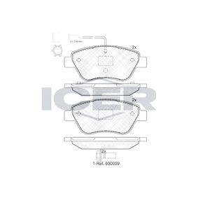 Bremsbelagsatz, Scheibenbremse Höhe: 53,2mm, Dicke/Stärke: 17,8mm mit OEM-Nummer 71770098
