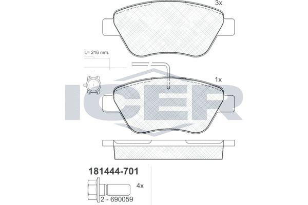 ICER  181444-701 Bremsbelagsatz, Scheibenbremse Höhe: 53,2mm, Dicke/Stärke: 17,8mm