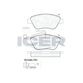 ICER  181444-701 Brake Pad Set, disc brake Height: 53,2mm, Thickness: 17,8mm