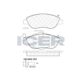 Bremsbelagsatz, Scheibenbremse Höhe: 57,64mm, Dicke/Stärke: 19mm mit OEM-Nummer 77366489
