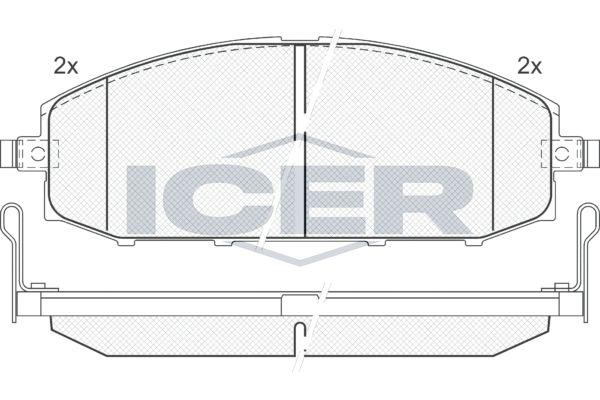 ICER  181448 Bremsbelagsatz, Scheibenbremse Höhe: 61,14mm, Dicke/Stärke: 18,8mm