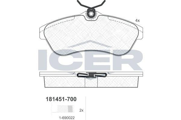 ICER  181451-700 Bremsbelagsatz, Scheibenbremse Höhe: 56,3mm, Dicke/Stärke: 19,3mm