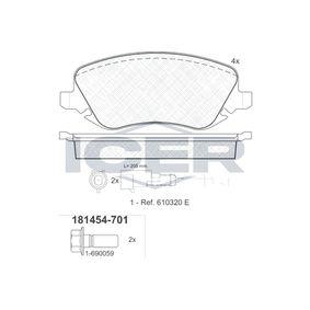 ICER  181454-701 Bremsbelagsatz, Scheibenbremse Höhe: 59,5mm, Dicke/Stärke: 19mm
